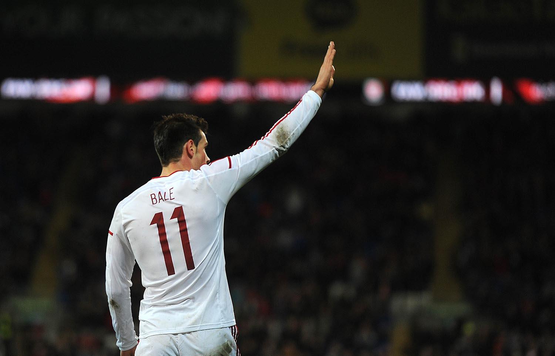Gareth Bale of Wales celebrates his goal