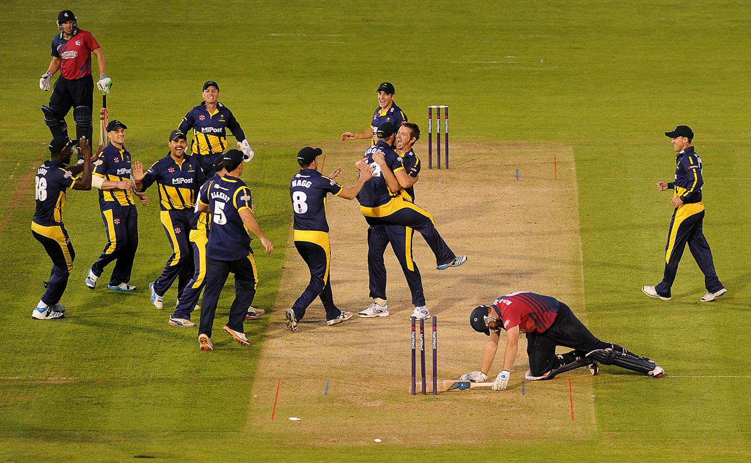 Jacques Rudolph of Glamorgan celebrates after running out Doug Bollinger of Kent to draw the match