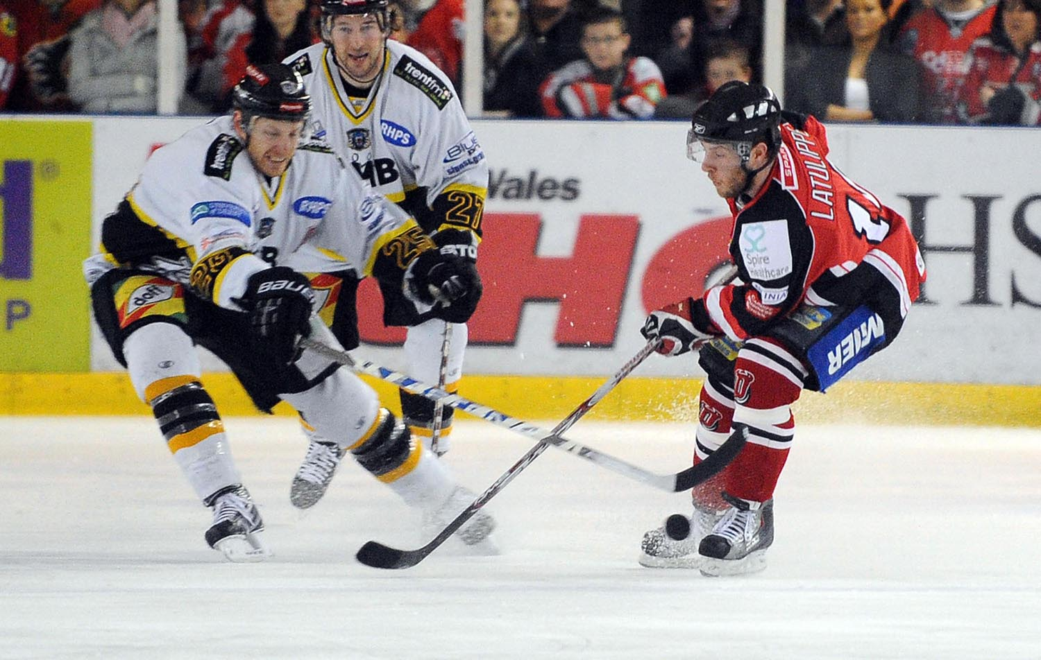 Nottingham Panther's Kevin Bergin and Cardiff Devils' Jay Latulippe