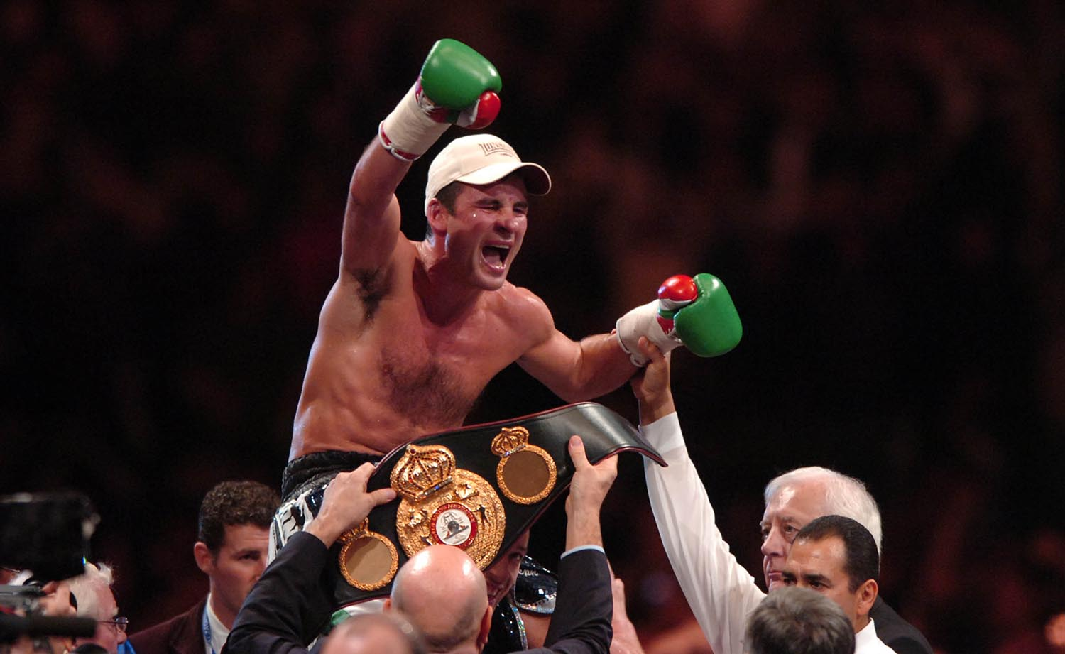 Joe Calzaghe celebrates victory over Mikkel Kessler