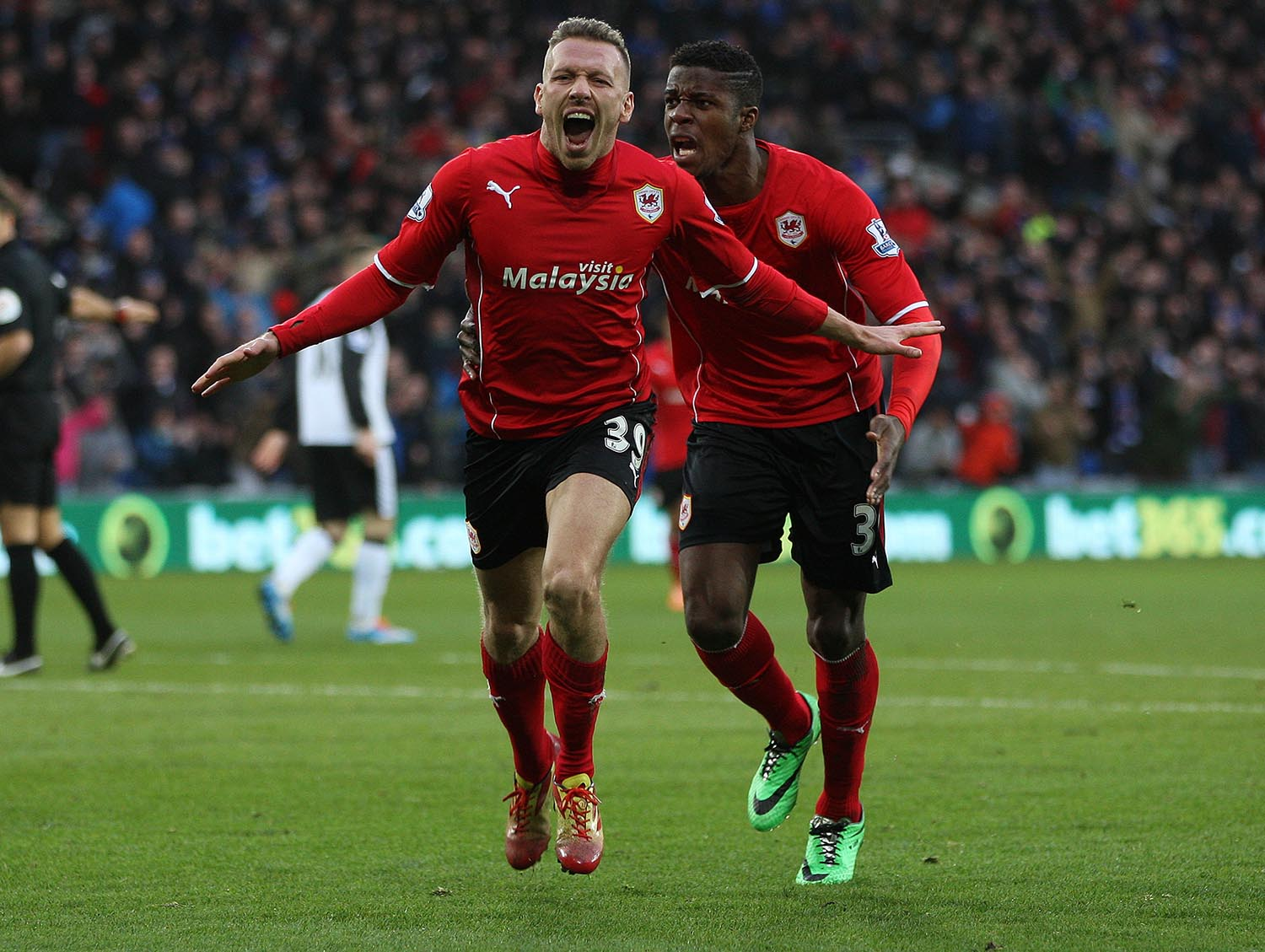Cardiff City's Craig Bellamy celebrates after scoring