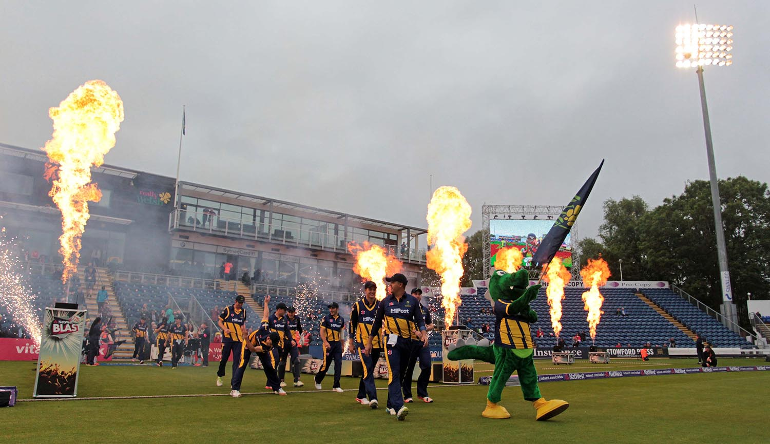 Glamorgan go onto the field at the start of a T20 Blast match