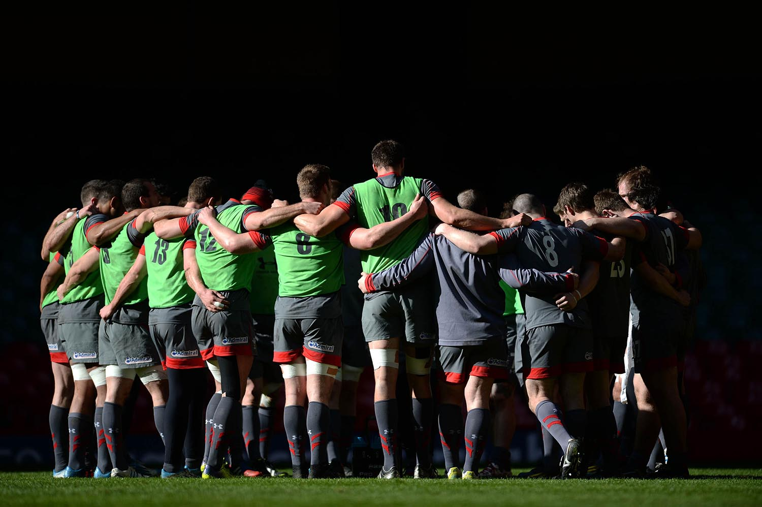 Wales Rugby Team huddle during training