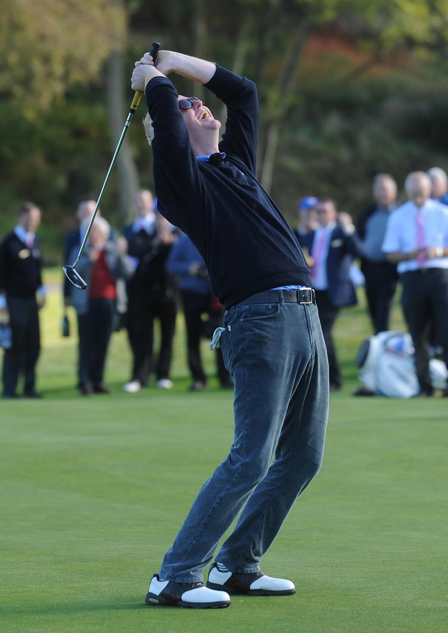Chris Evans misses a putt on the 18th at Celtic Manor