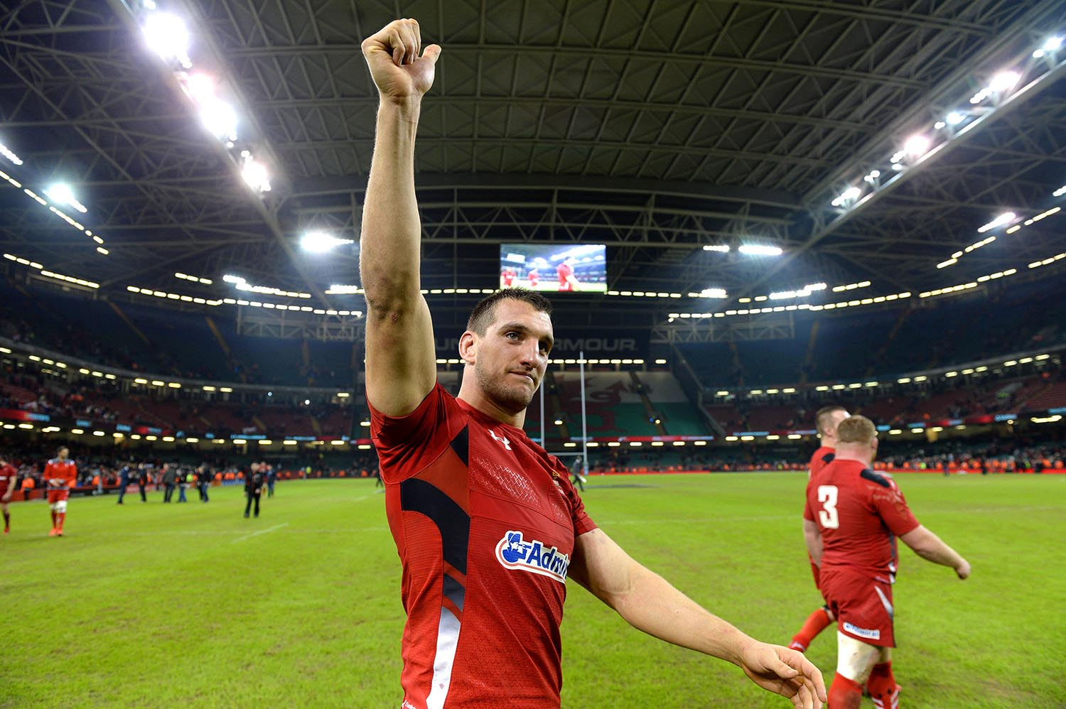 Sam Warburton of Wales celebrates beating South Africa