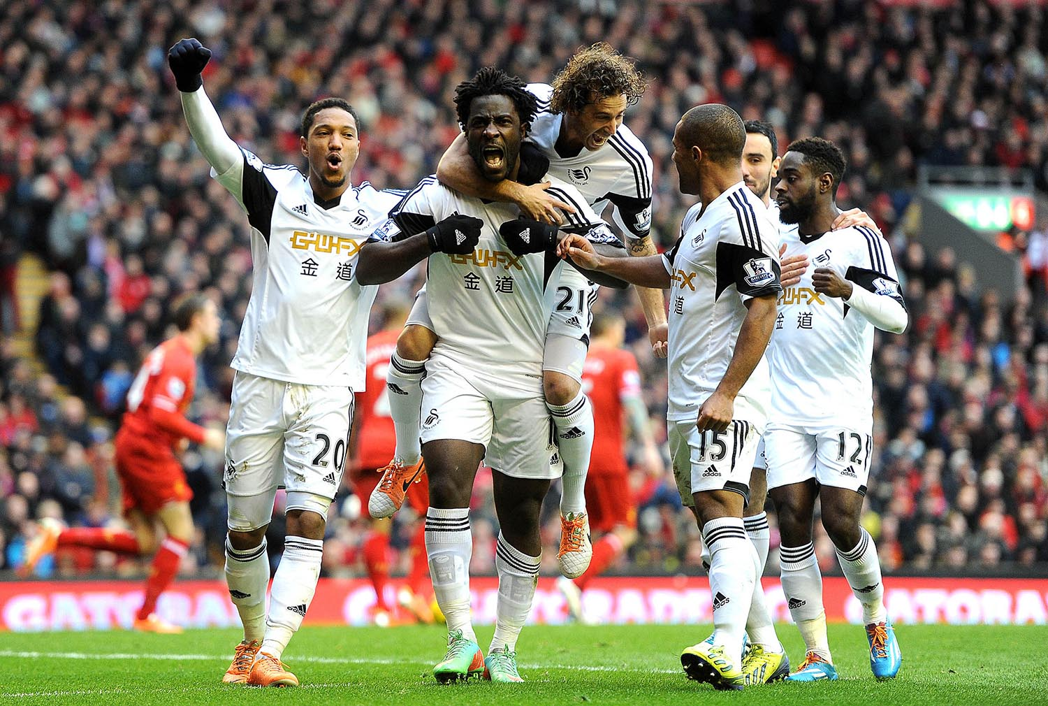 Wilfried Bony of Swansea celebrates scoring