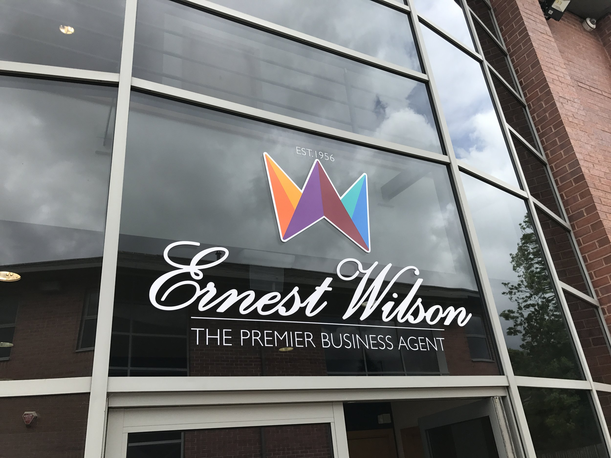 5mm cut Foamex window logo with coloured vinyl