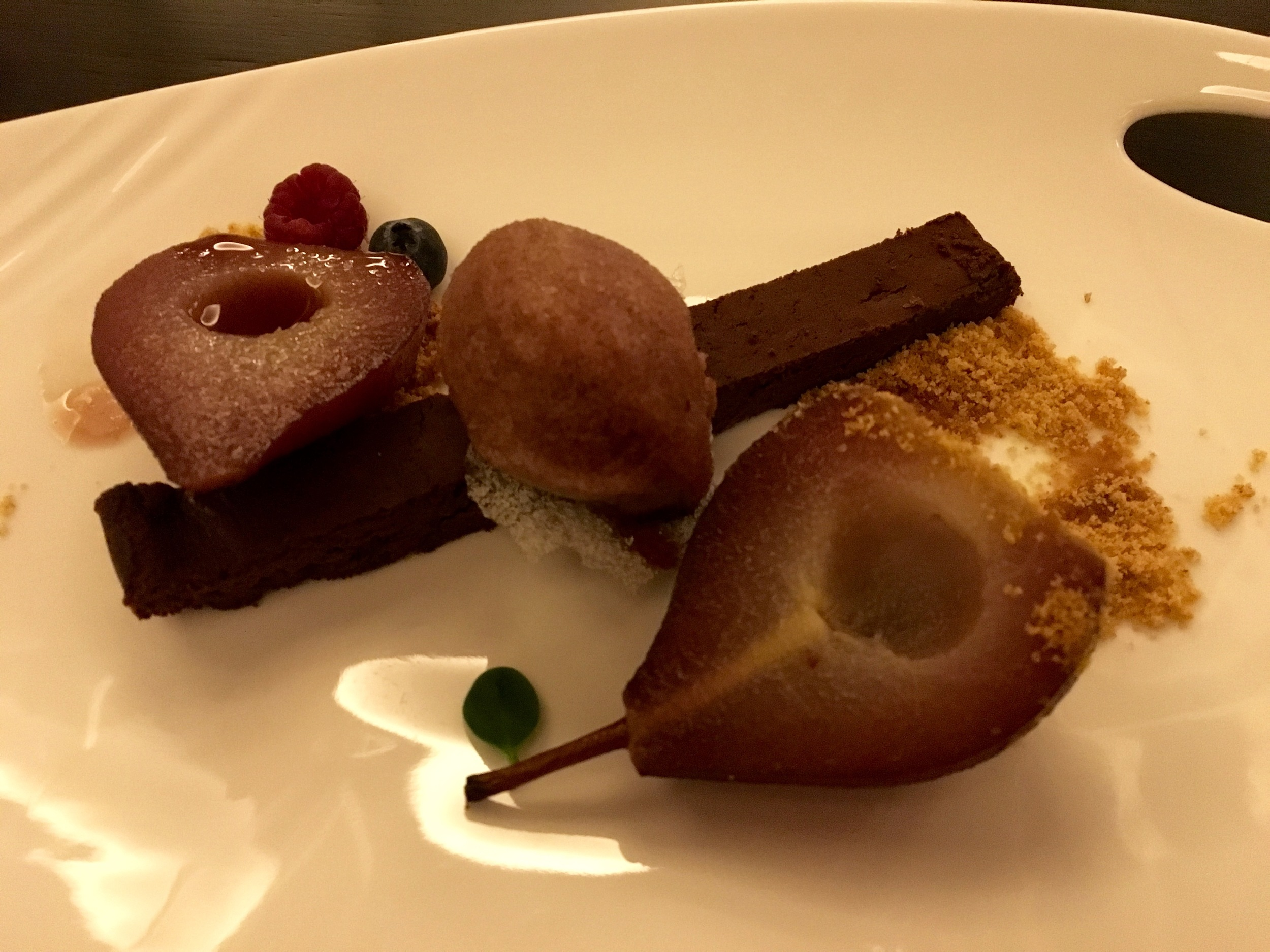 brownie, poached pears
