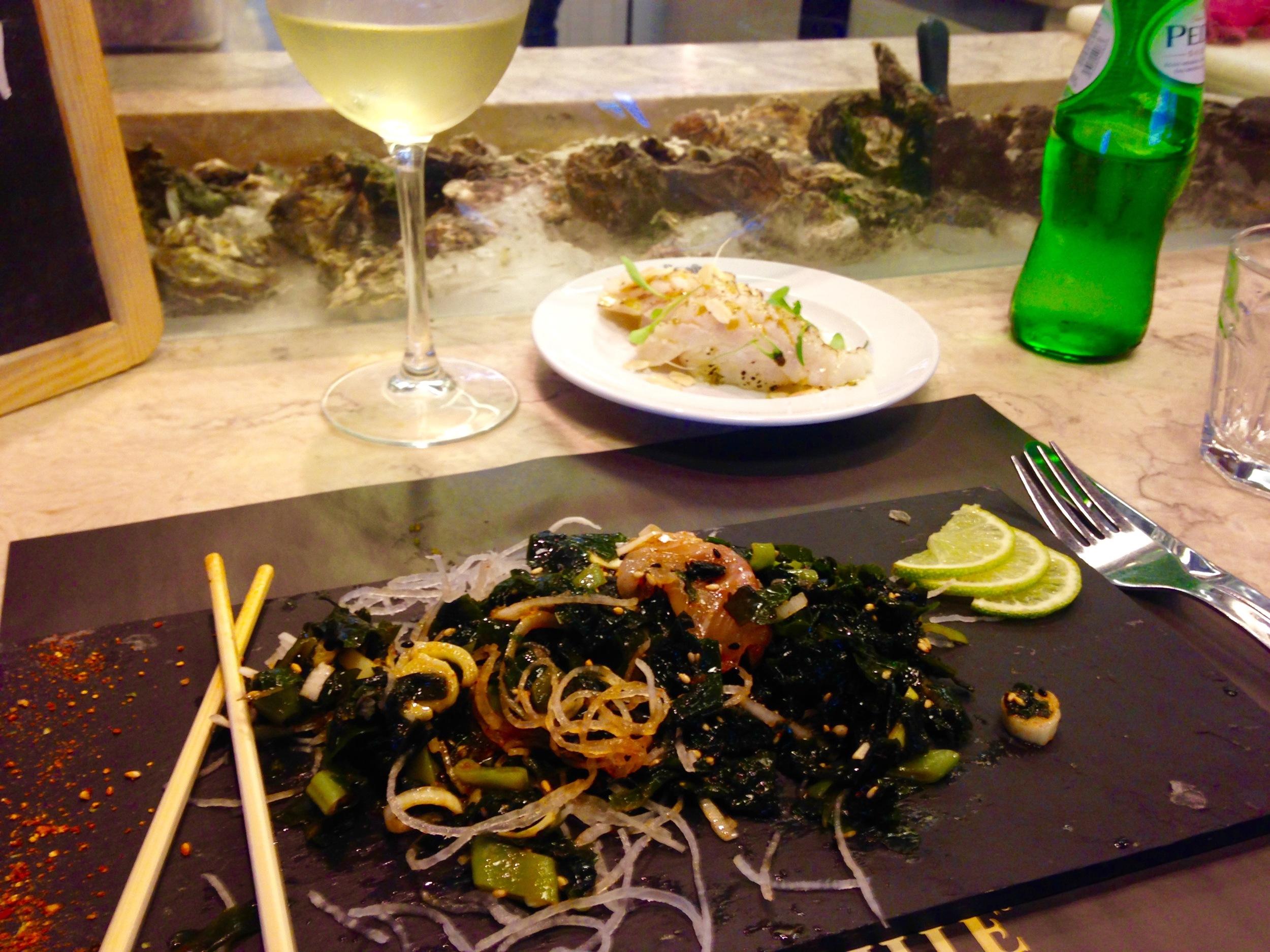 sea bass/seaweed salad