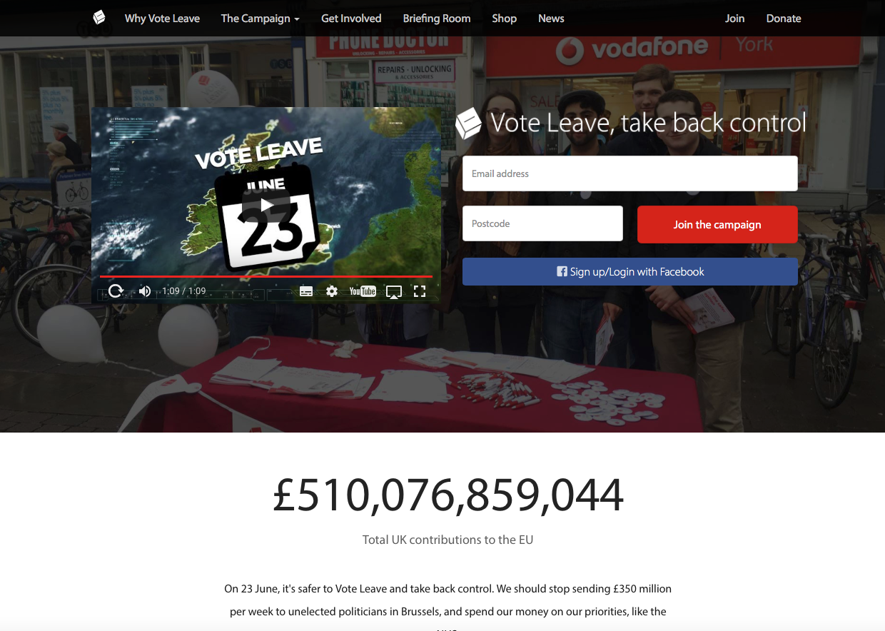 The 'Vote Leave' home page