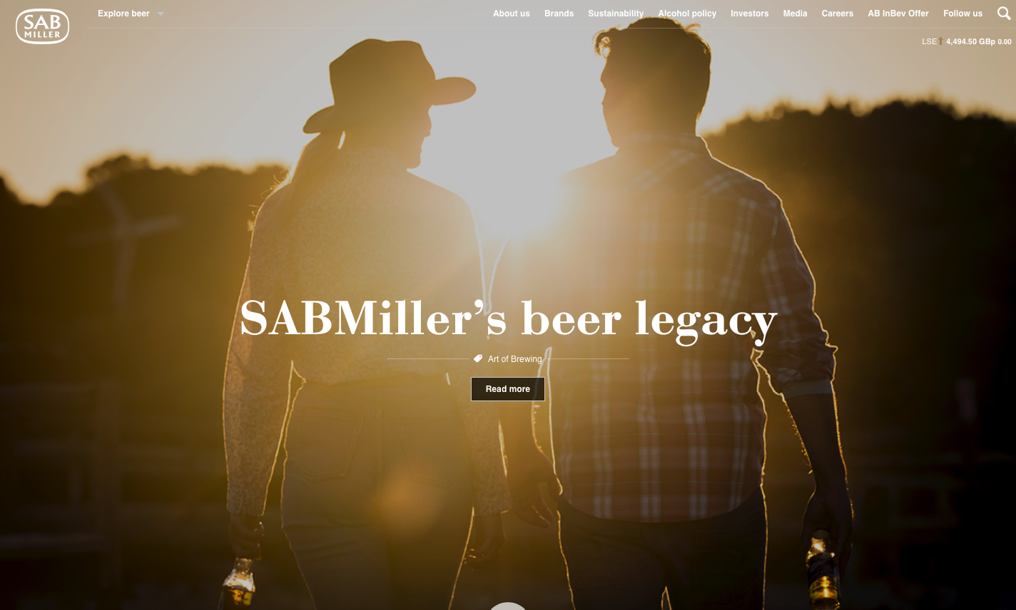 SABMiller's home page during its last week as an independent company
