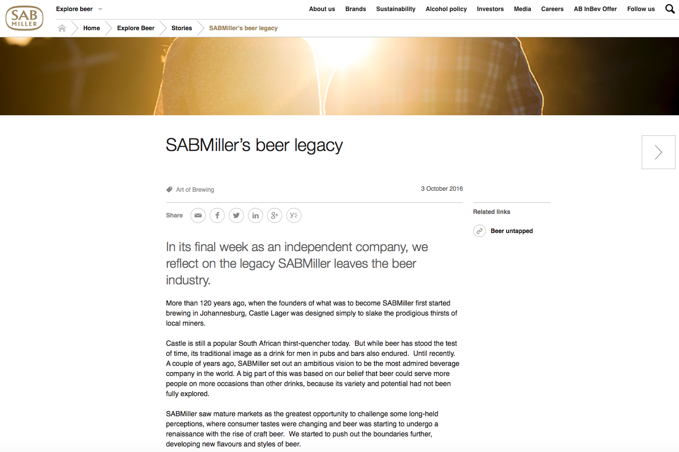SABMiller published more than 160 'stories' on its global website. This is its last.