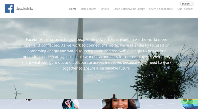 Sustainability landing page