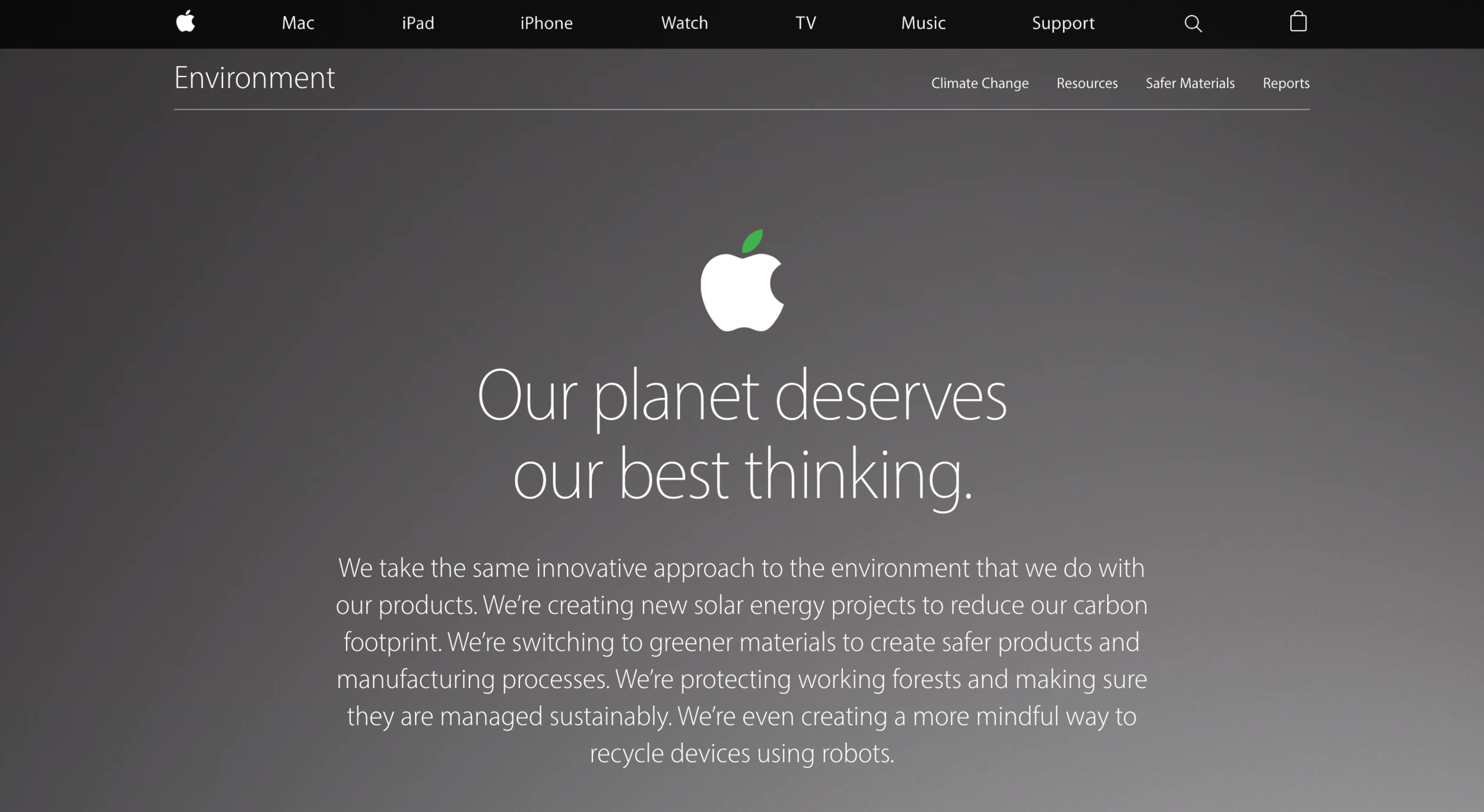 Apple's Environment section