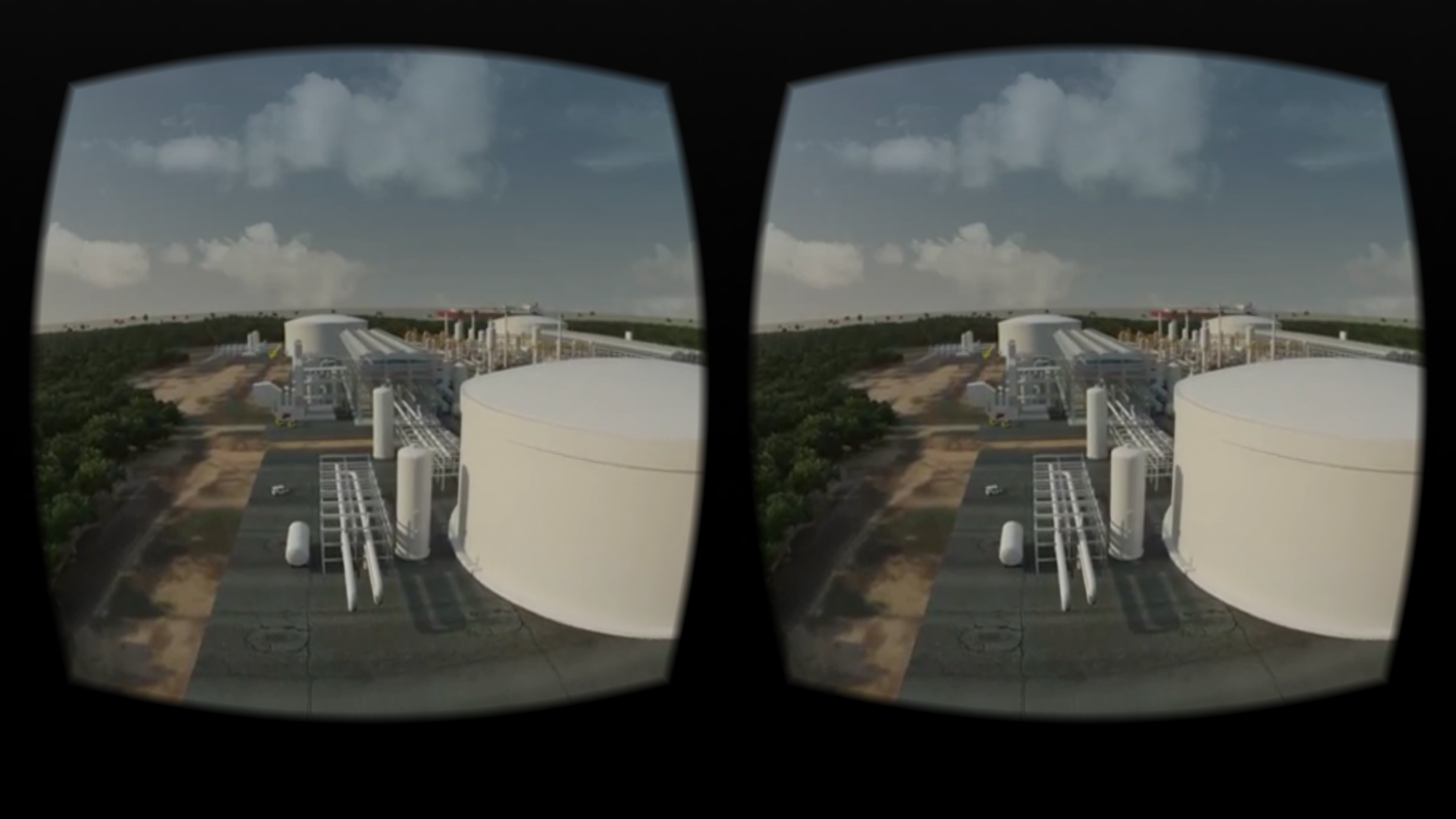Touring a facility in a computer-generated jungle in ExxonMobil's VR app