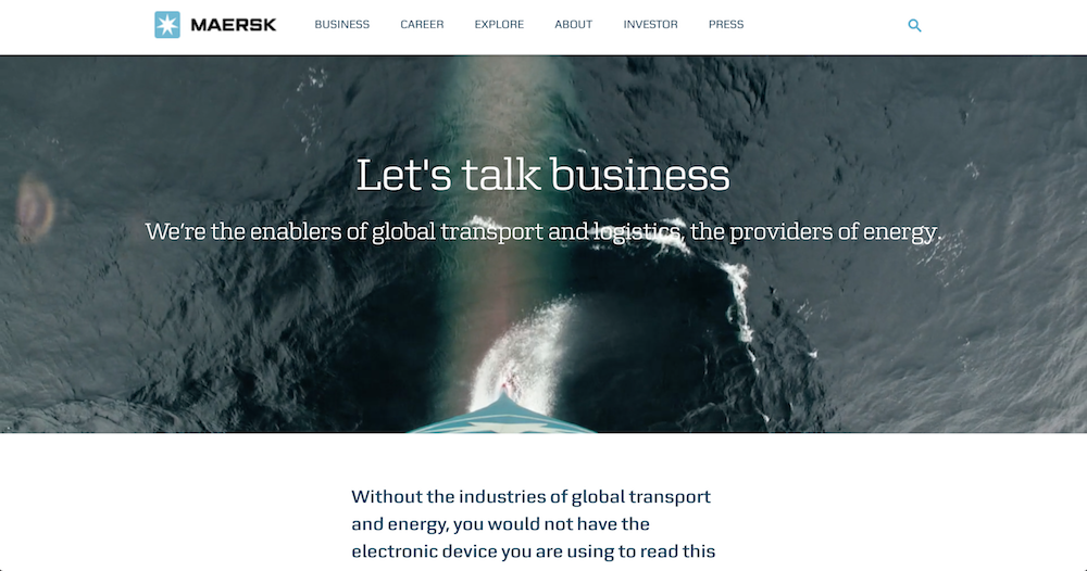 From the  Maersk 'Business' landing page