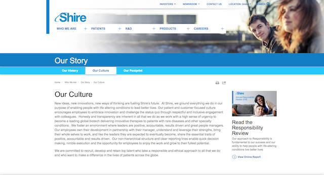 Shire's 'Our Culture' page