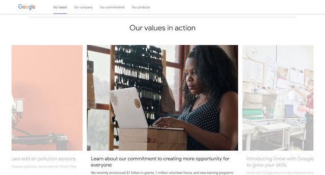 The Google corporate home page: 'Our values in action'