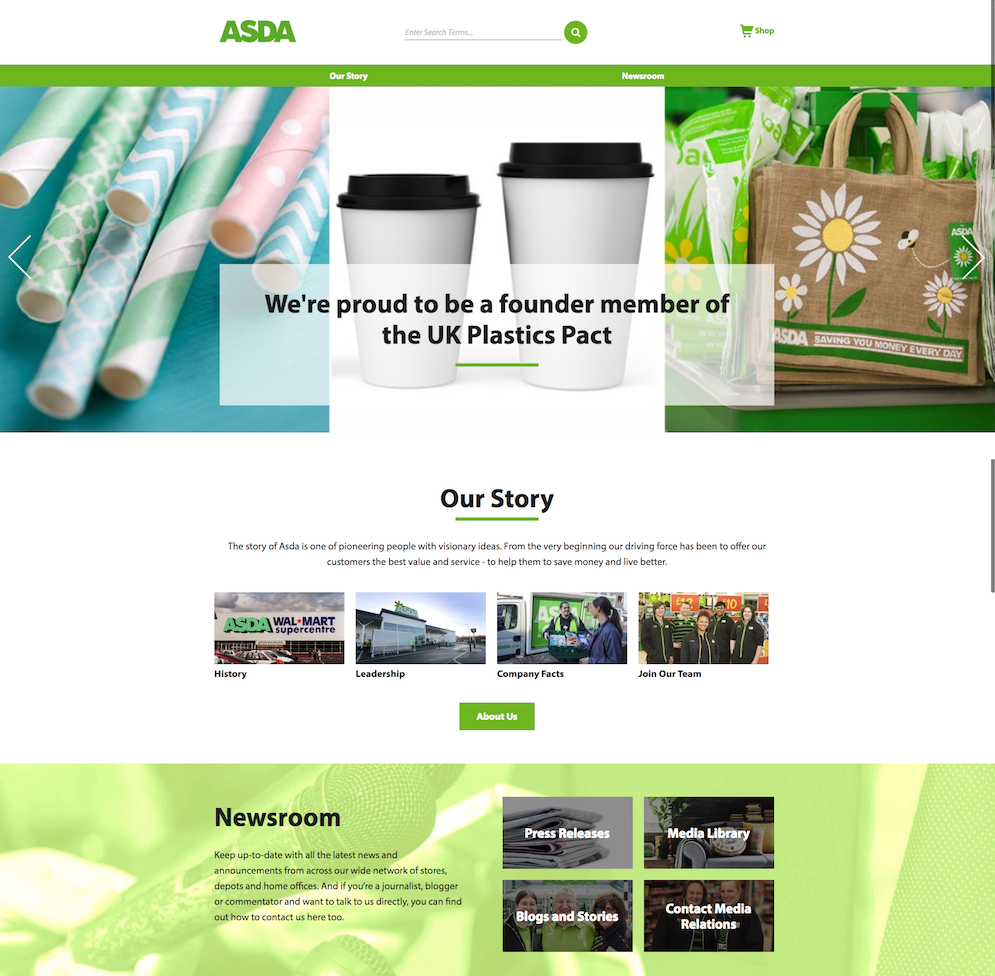 Asda's corporate home page - no merger in sight