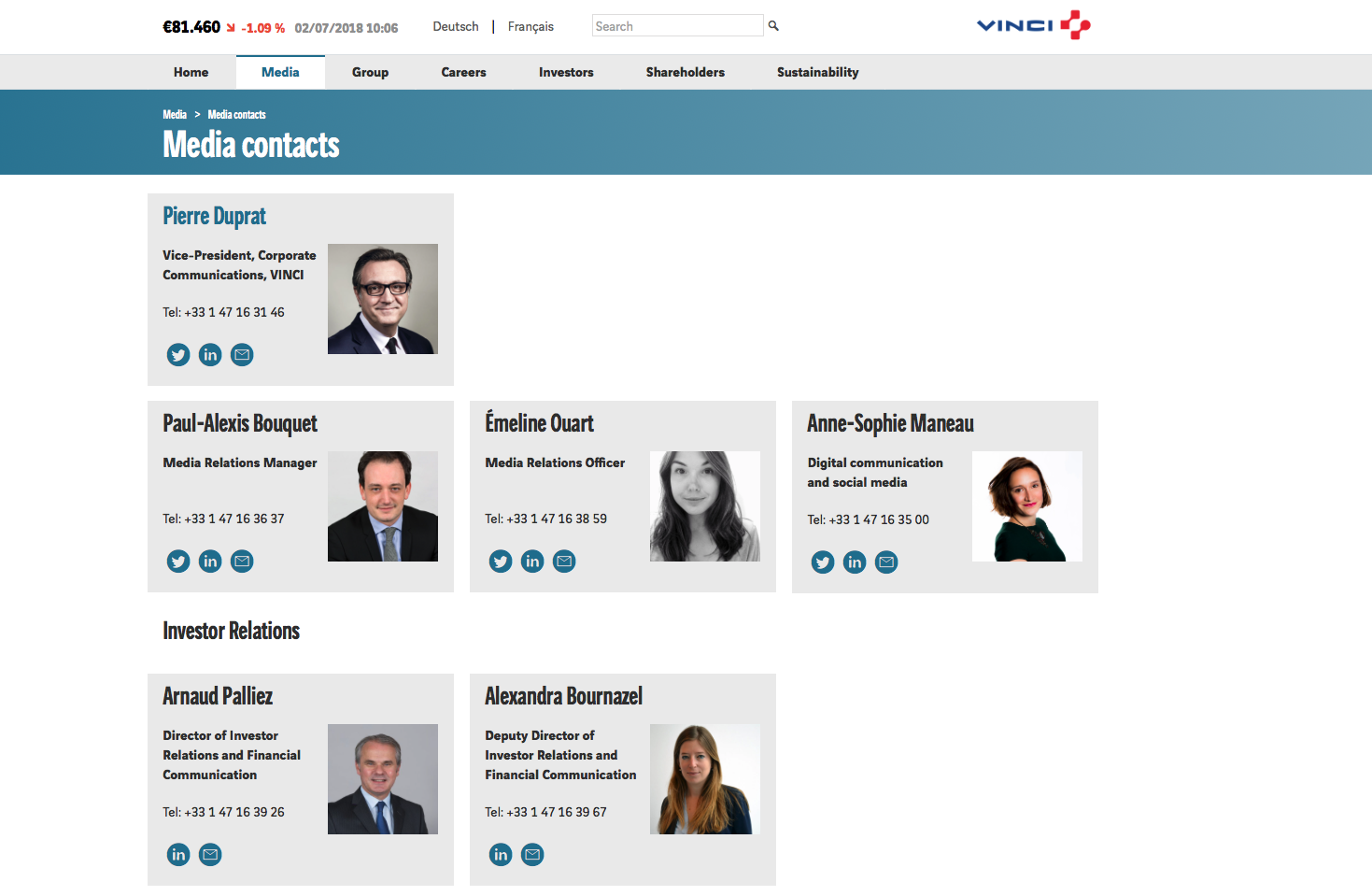 Vinci's Media contacts page