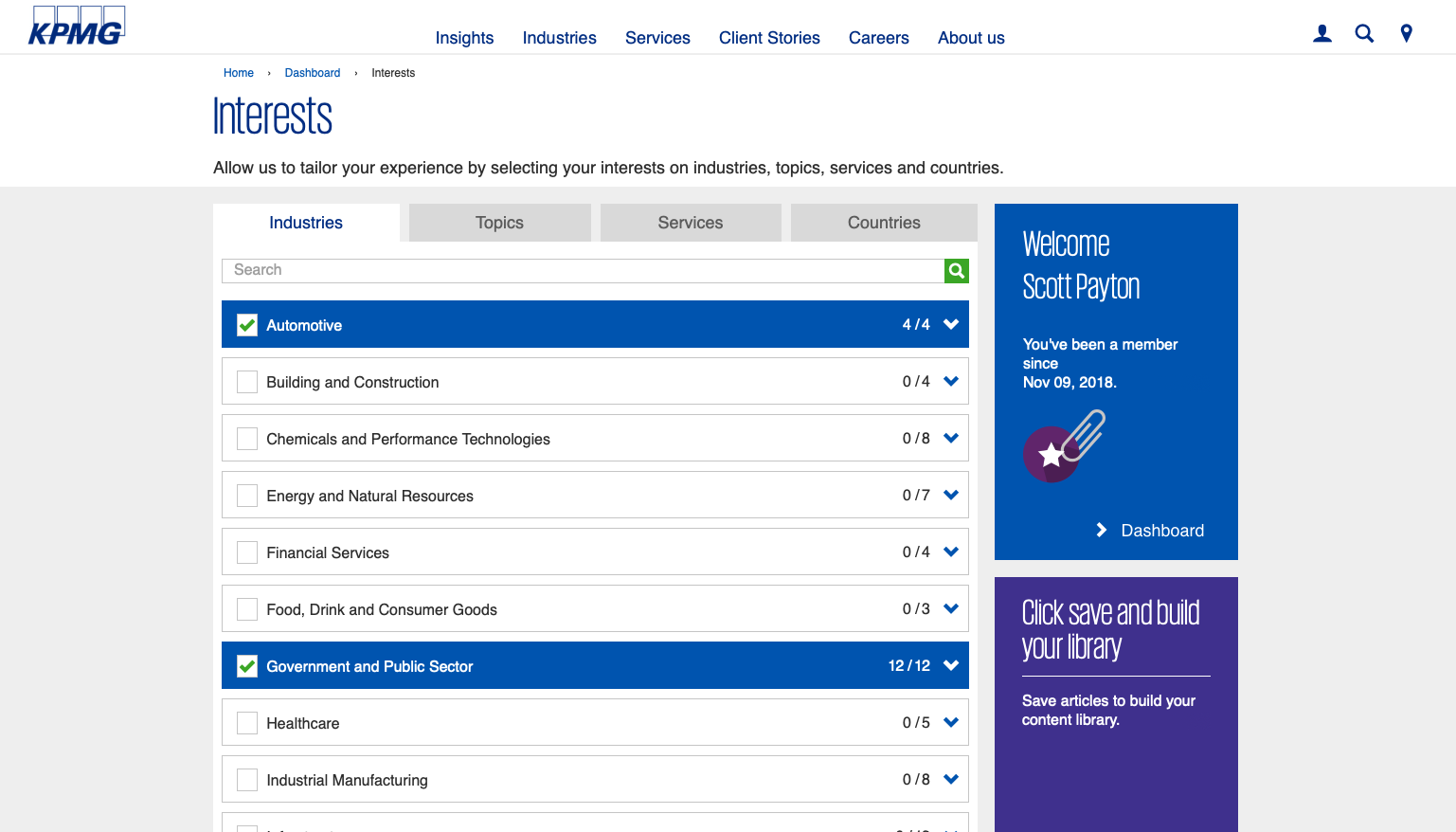 KPMG is experimenting with personalisation that is unusually sophisticated for a corporate website