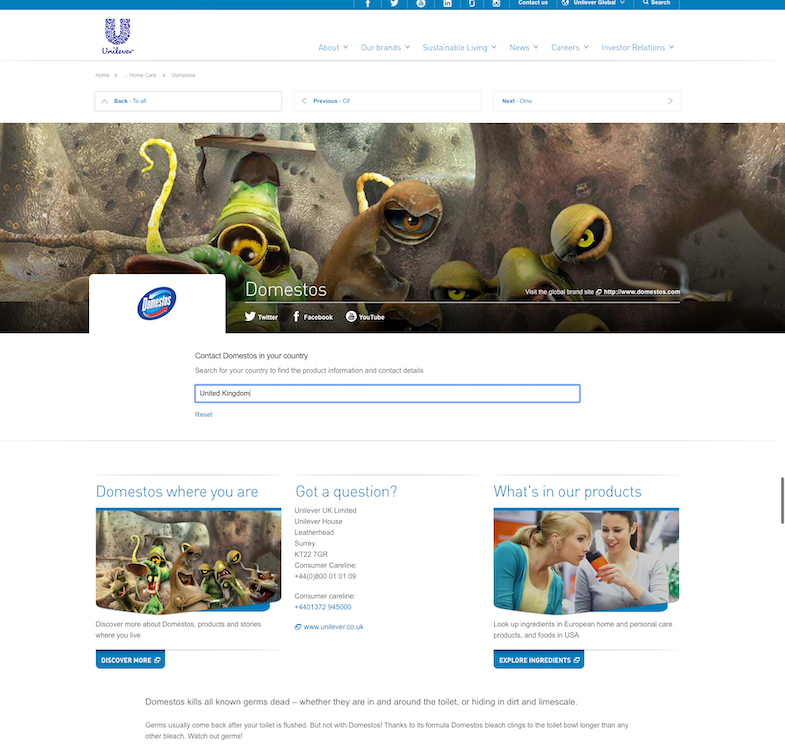 The Domestos brand page on the global Unilever site - with UK contact details displayed