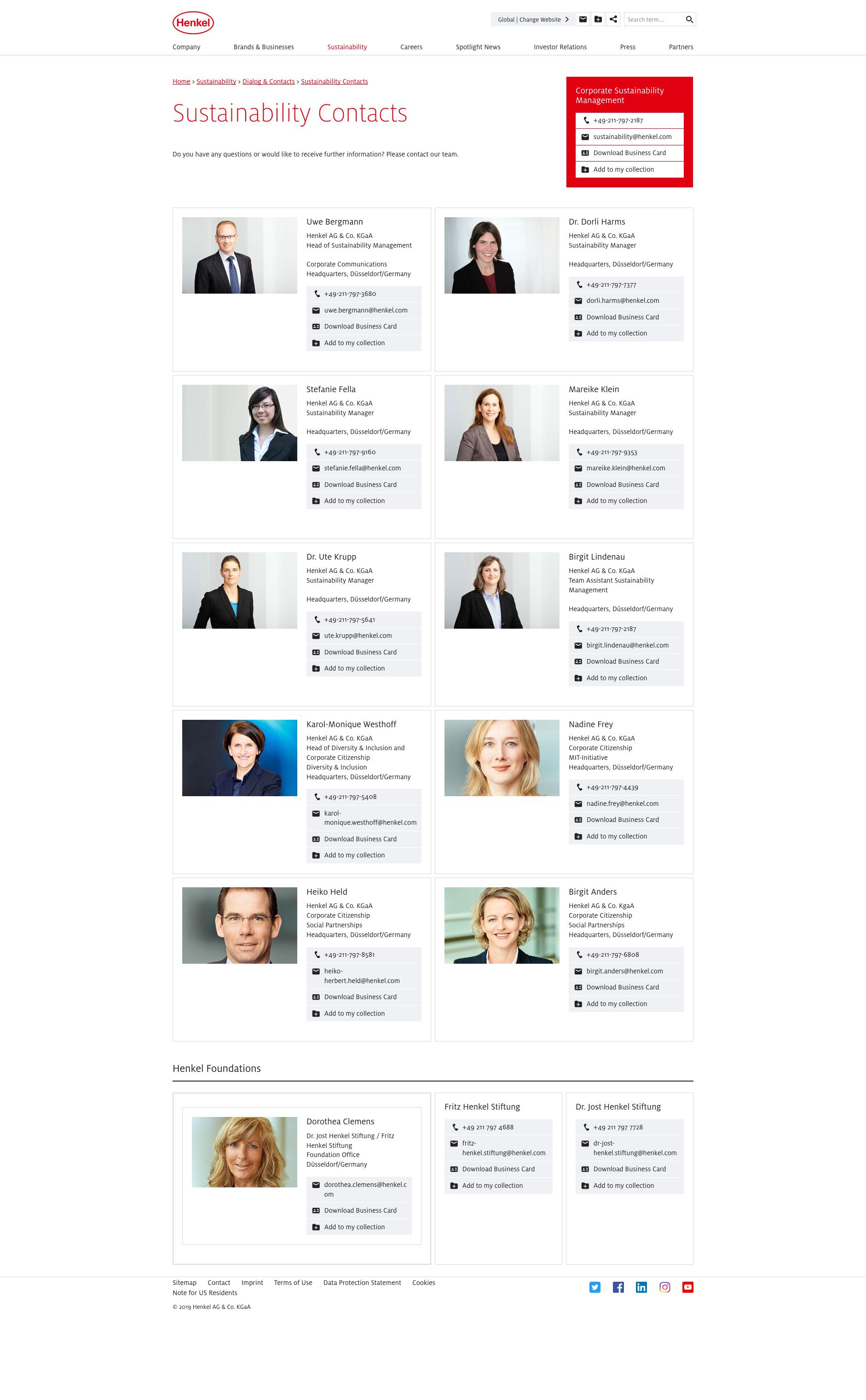 Henkel's CSR contact details are exceptionally comprehensive