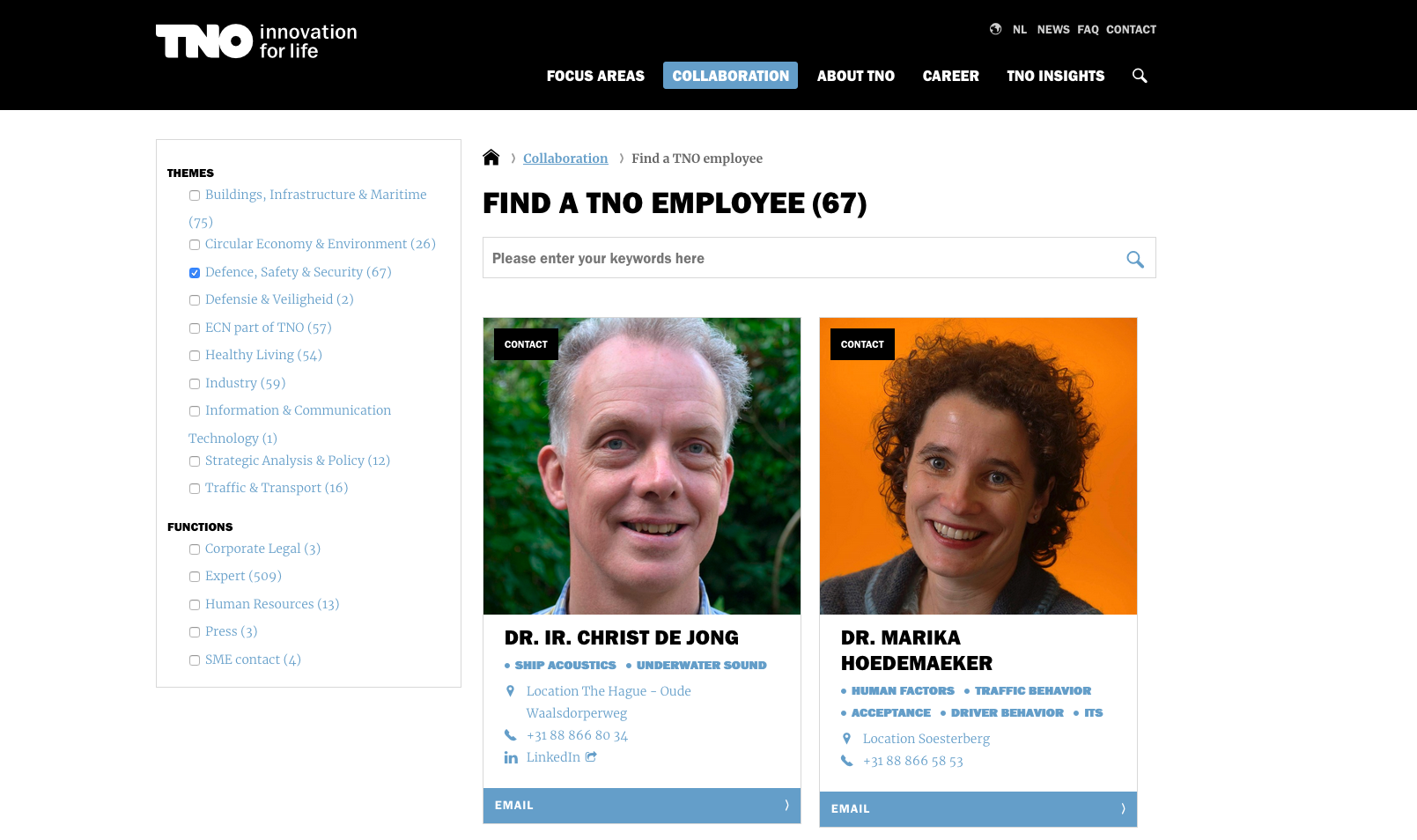 TNO's on-site employee directory houses a wealth of contact information