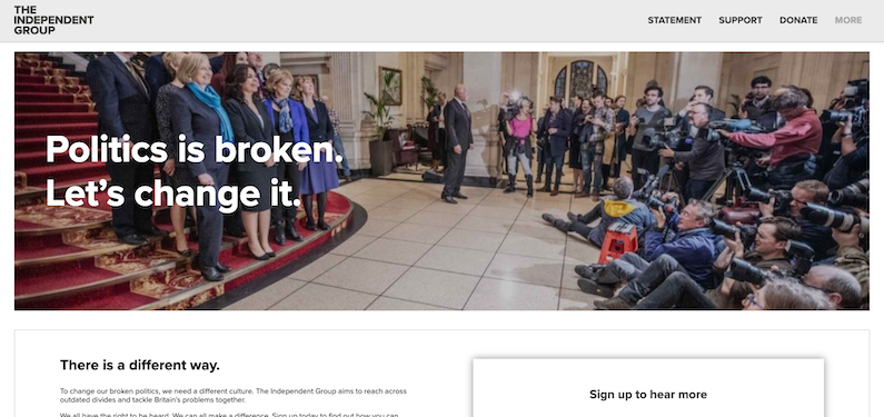 The Independent Group's website
