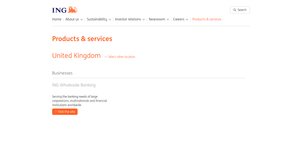 ING's country product finder tool is notable for its well-executed location sniffer
