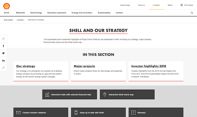 Shell is a long-time high-performer in this category. Information in the global site's Investors section remains as rich as ever. The 'Shell and our strategy' sub-section is complemented by the impressive Investors Handbook and Annual report, both available online and in PDF.