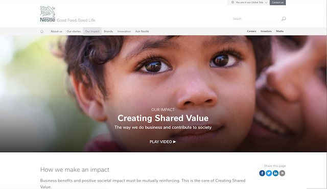 Nestlé's relaunched CSR section, 'Our Impact', does an exceptionally good job of presenting progress against a large number of goals that is both accessible and detailed. Corporate governance information is well-written, neatly presented and highly transparent. Its Creating Shared Value reporting also serves CSR professional audiences well.