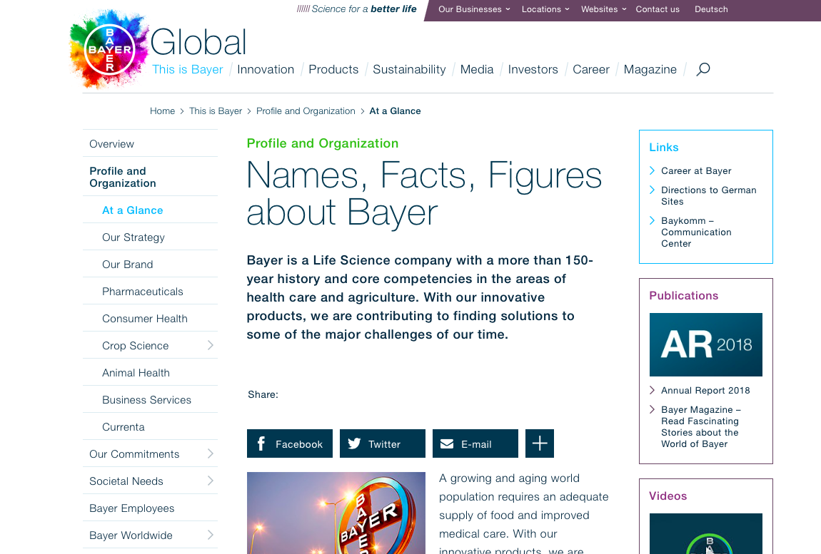 The Bayer web estate has undergone a refresh recently – and, unusually among redesigned corporate sites, has managed to retain highly effective usability with the updated look and feel. The keys to this are a well-implemented drop-down menu, left menus within sections, a common utility menu across its wide federation of separate sites, and vigorous use of right links to connect the estate.