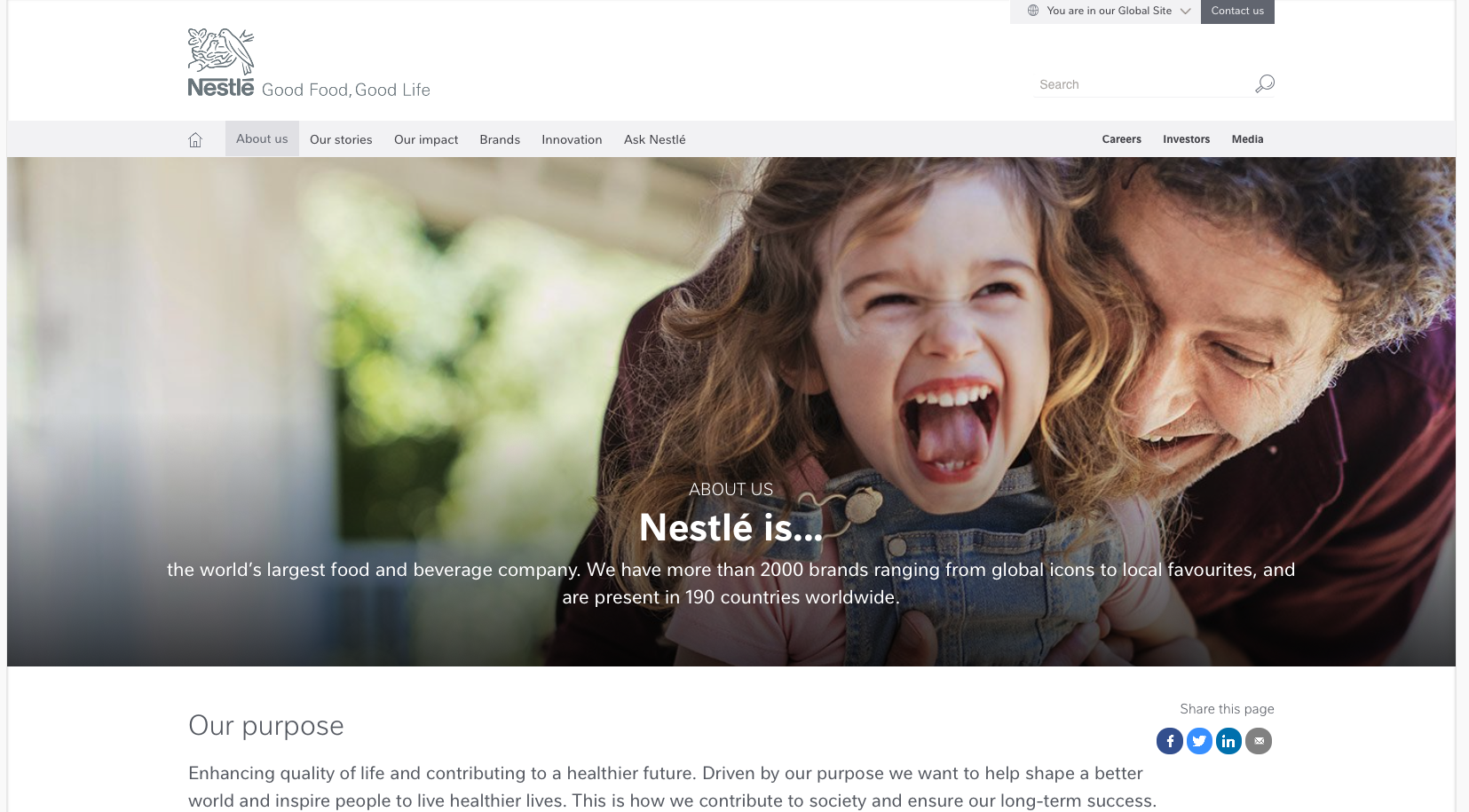 Nestlé offers a great deal of good information on nestle.com about the company - what it does, how it is managed, its purpose and so on. History is very well covered (including several innovative features, such as a customisable timeline, 'Your life in food'), and the main history timeline is now more engaging after a redesign. Nestlé also acts convincingly like a company with an international mindset, interested in engaging with a genuinely global stakeholder base. The main corporate site is in English only, but with much key information translated into relevant other languages. There is clear evidence of communication between the corporate centre and country site editors; indeed, content sharing between these sites appears to be stronger than ever after the estate-wide redesign.