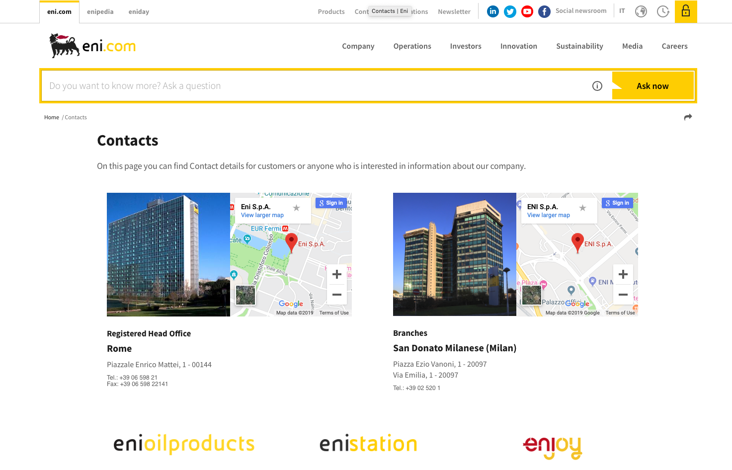 Eni's contact page is welcoming and transparent, with clearly signposted direct contact options for a variety of stakeholders.