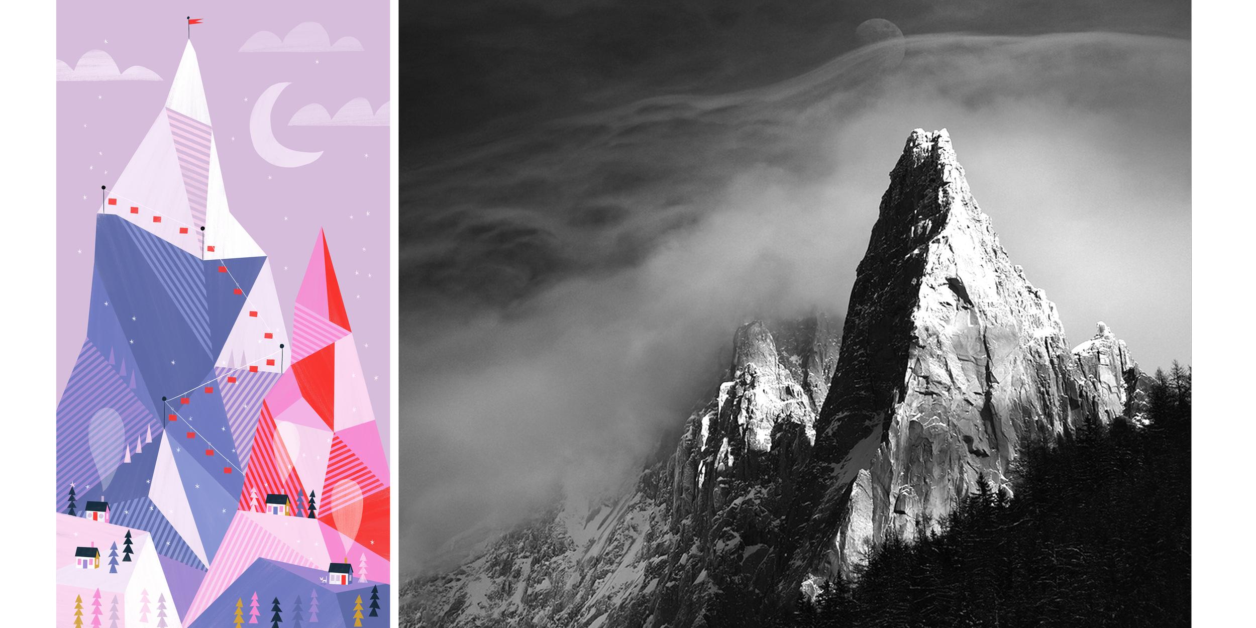 left: Little Kitty Big Adventure Mountain Card| right:  Photo by Alexandre Deschaumes