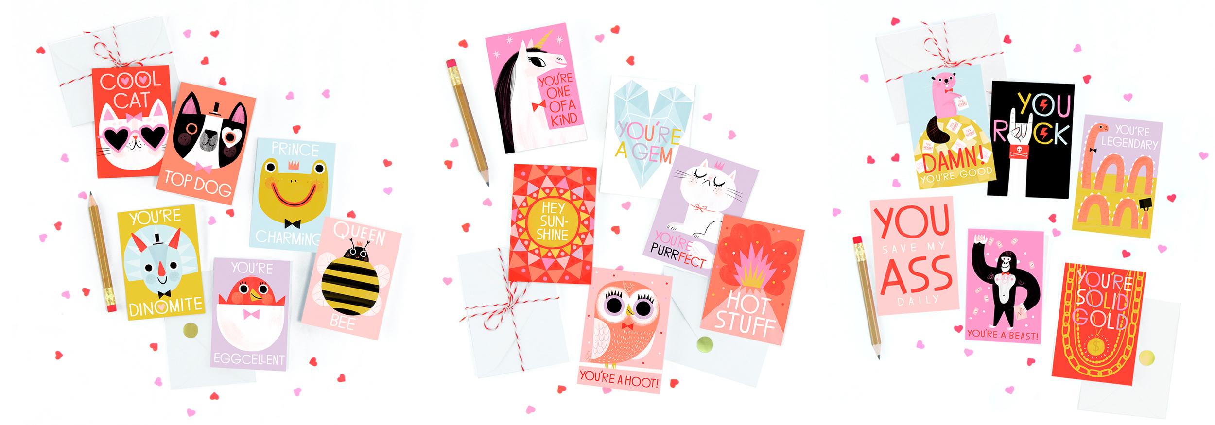 Hip-Hip Mini Valentine's Day Card Sets