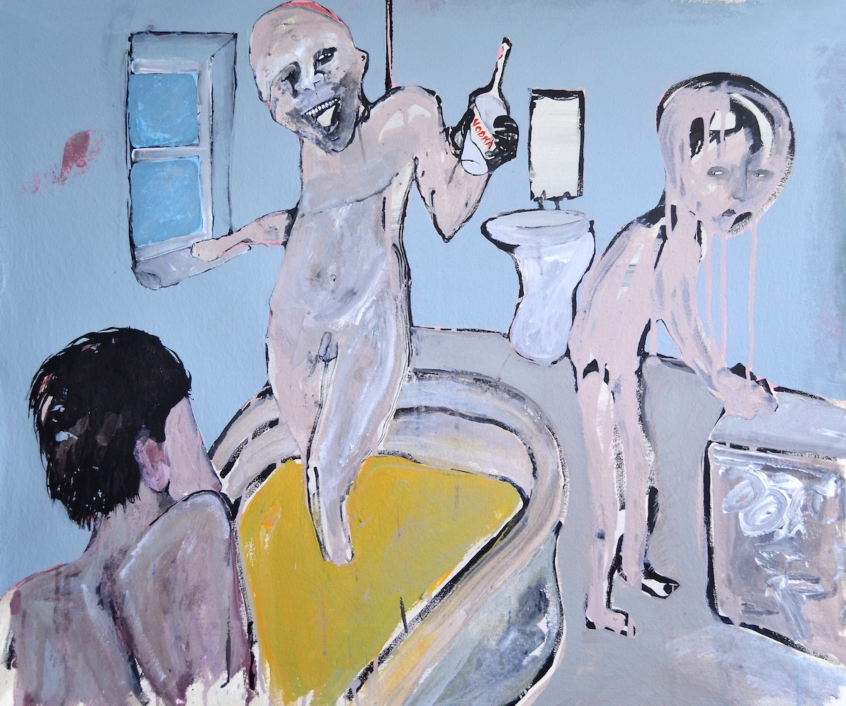 You'll always find me in the bathroom at parties. Acrylic on Canvas. 72 x 84cm.
