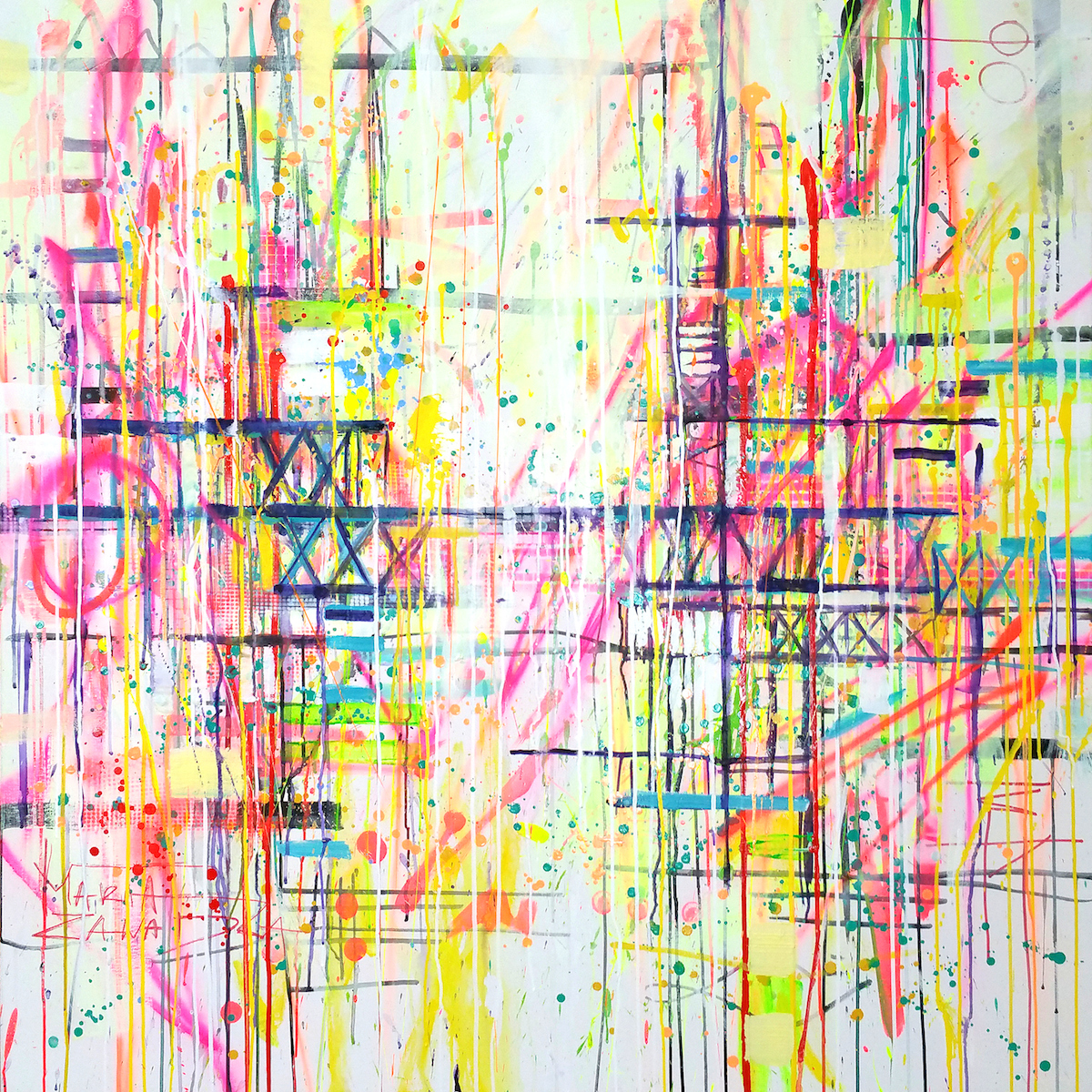 """Somewhere in Signapore"" Acrylic, Ink and Spray Paint on Canvas. 120 x 120 cm. Ready to hang."