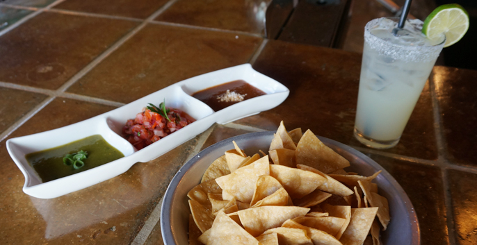 Salsa and Chips: pico de gallo, salsa verde, smoked tomato picante.