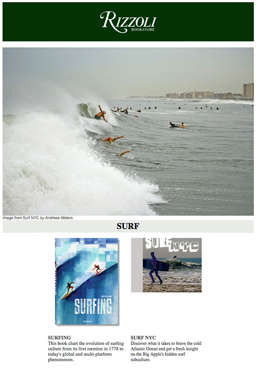 SURF NYC coffee table book in store at Rizzoli Bookstore, 1133 Broadway, New York, NY