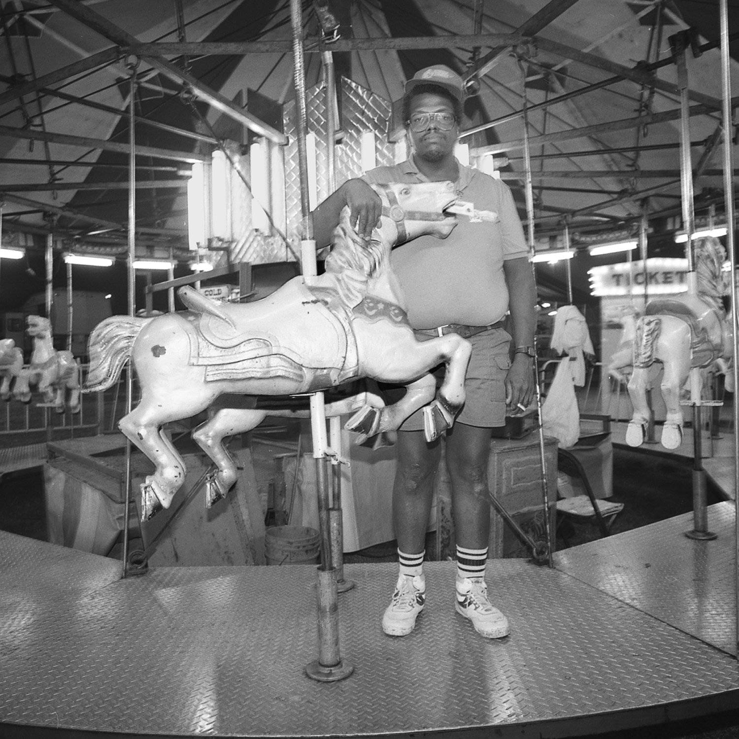 Man on Merry Go Round, Union City, Tennessee, archival pigment print,16x20, 1990