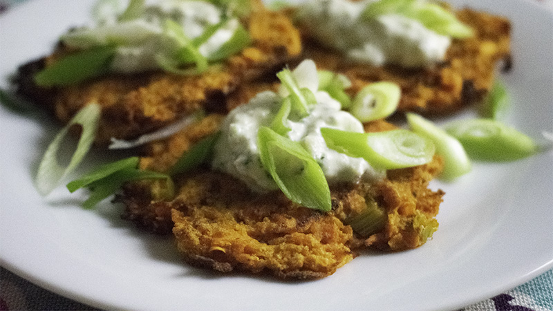 Sweet Potato Cakes with  Vegan Tzatziki