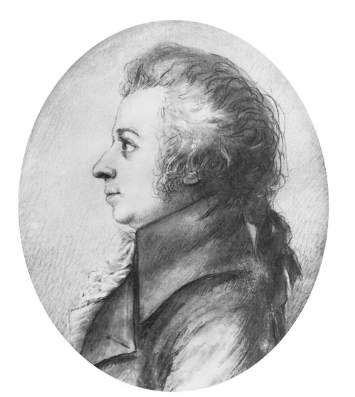 Drawing of Mozart in silverpoint, made by Dora Stock during Mozart's visit to Dresden, April 1789. Public domain.