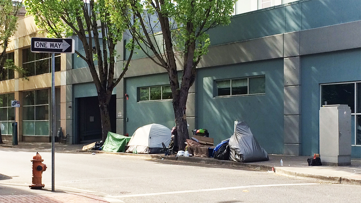 Typical homeless encampment in downtown Portland, OR
