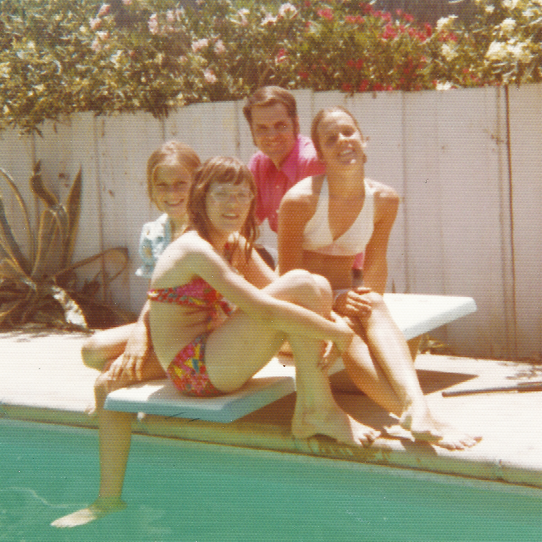 We used the diving board for posed photos more than for diving in our teenage years.