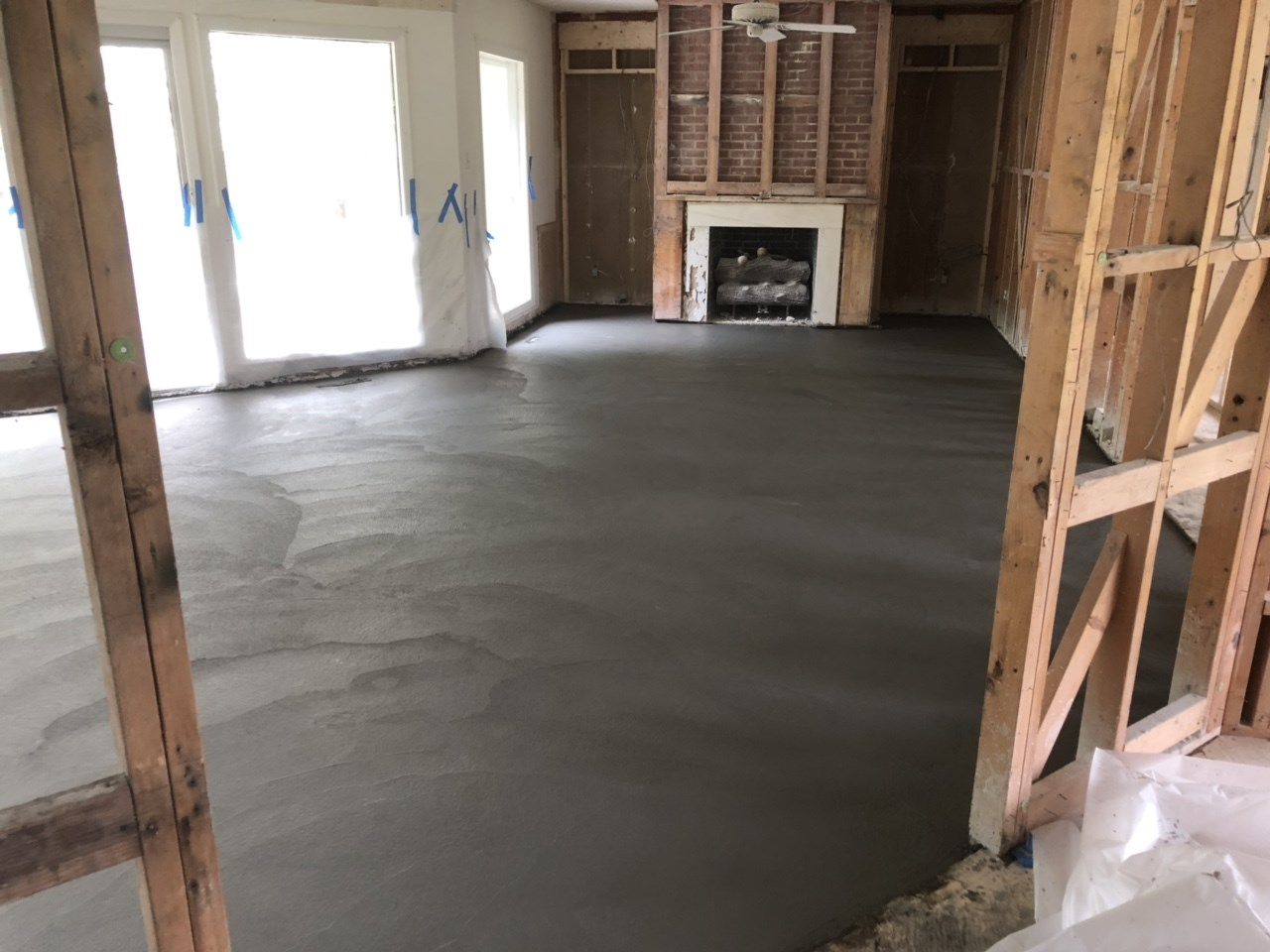 New subfloor is finished and now curing.