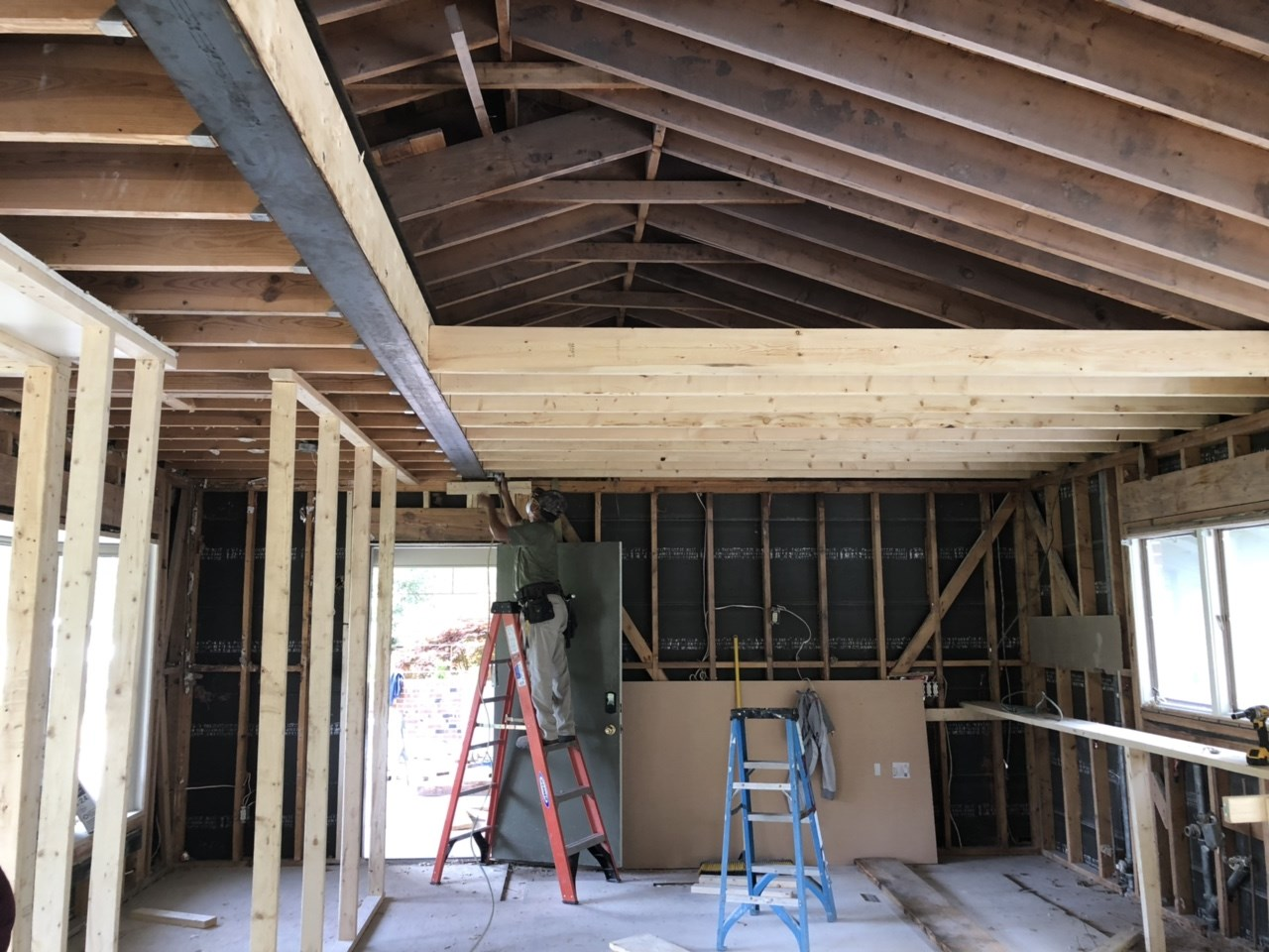 New ceiling joists are going up over what will become the new kitchen.
