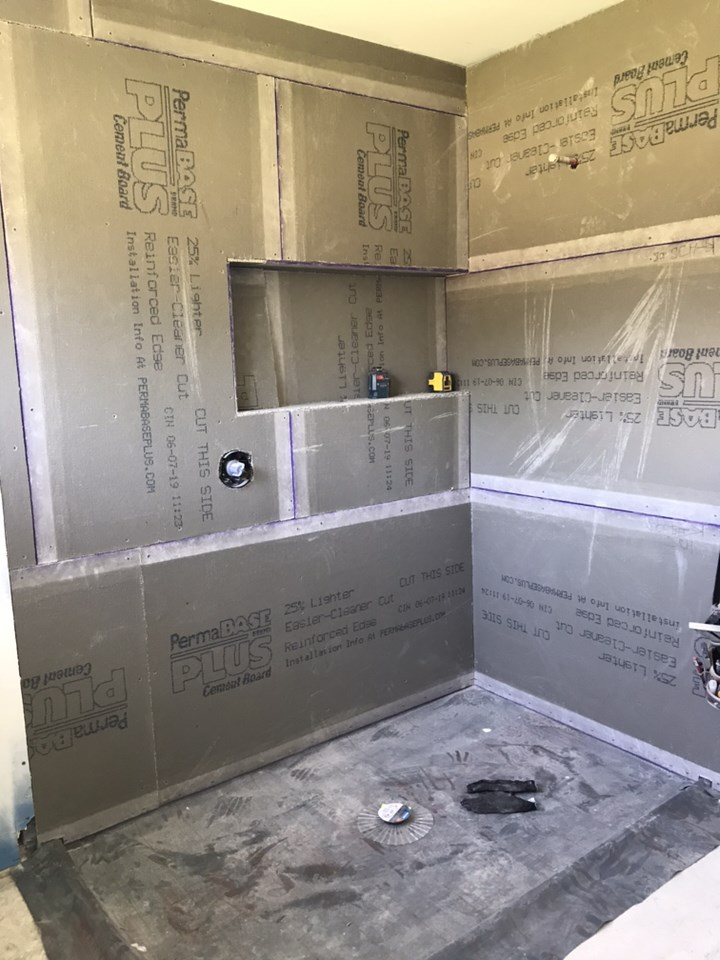The master bath shower is sheet rocked and will be prepped for tile.