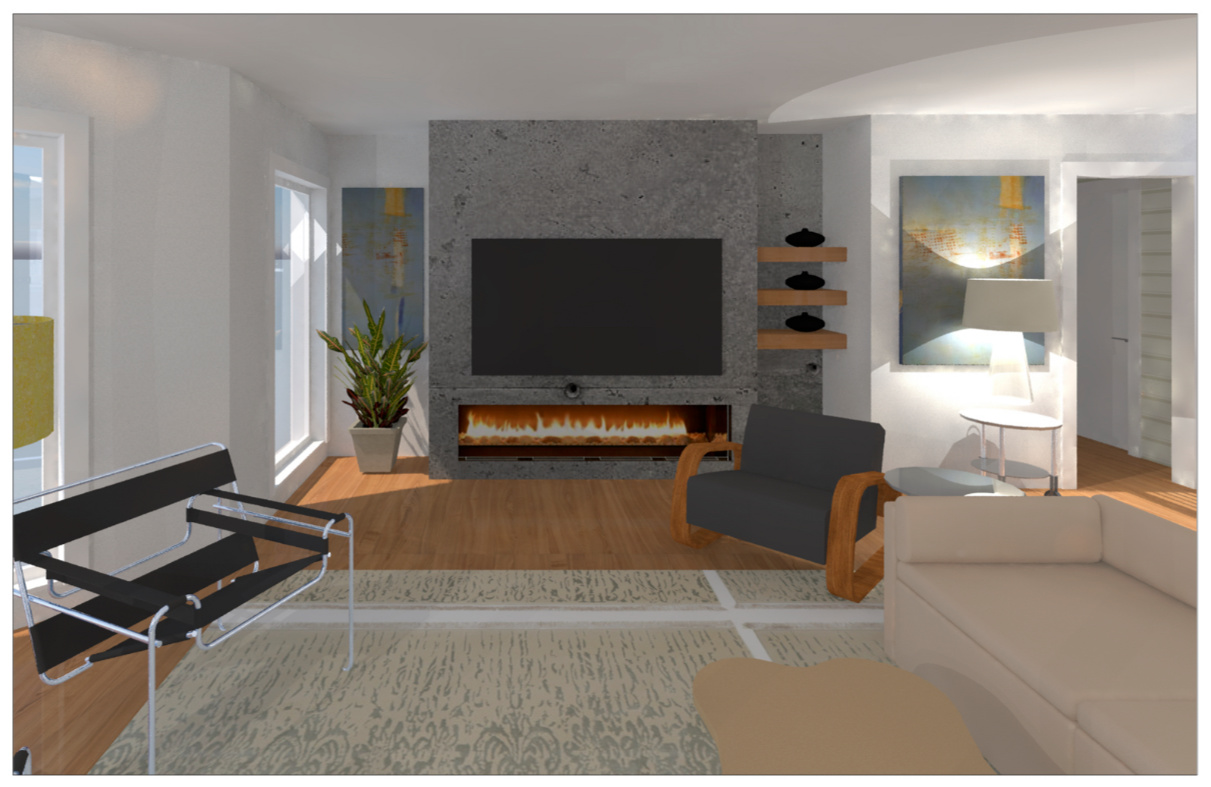 This rendering illustrates what the new fireplace wall will look like.